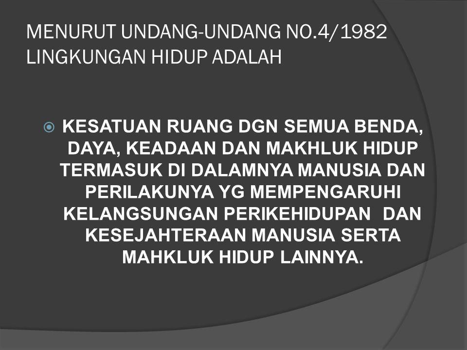 MENURUT UNDANG-UNDANG NO.4/1982 LINGKUNGAN HIDUP ADALAH