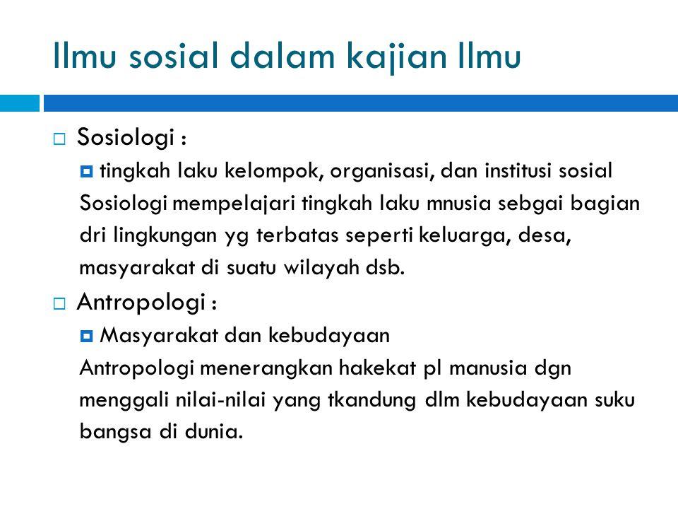 Ilmu sosial dalam kajian Ilmu