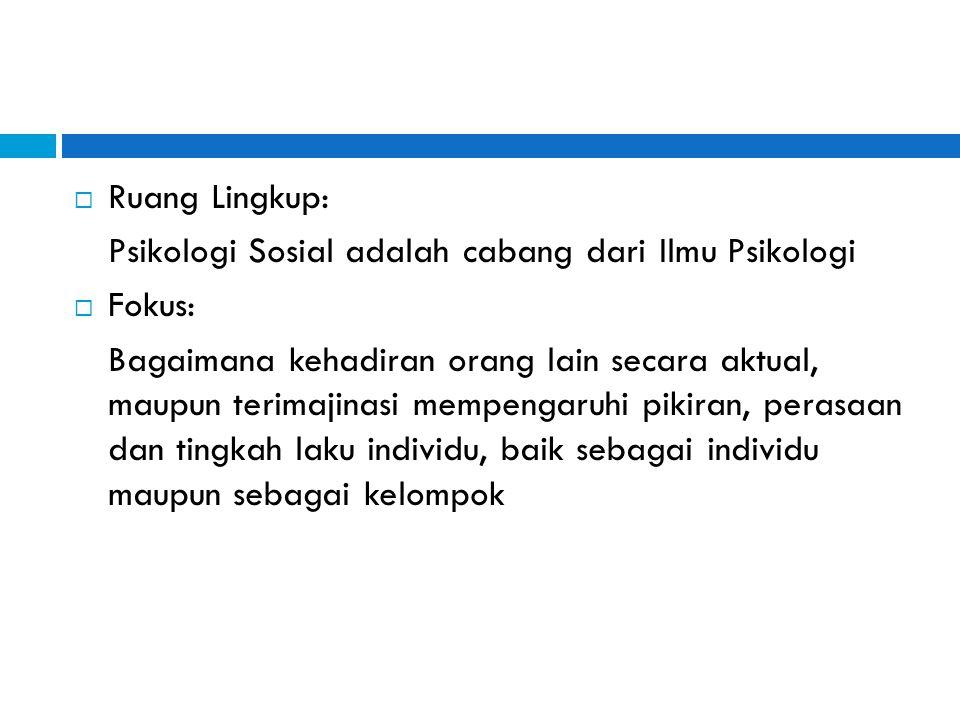 Ruang Lingkup: Psikologi Sosial adalah cabang dari Ilmu Psikologi. Fokus: