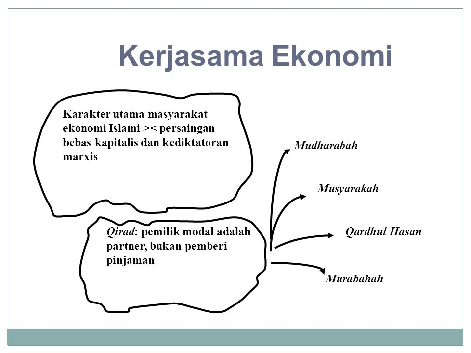 Kerjasama Ekonomi Karakter utama masyarakat ekonomi Islami >< persaingan bebas kapitalis dan kediktatoran marxis.