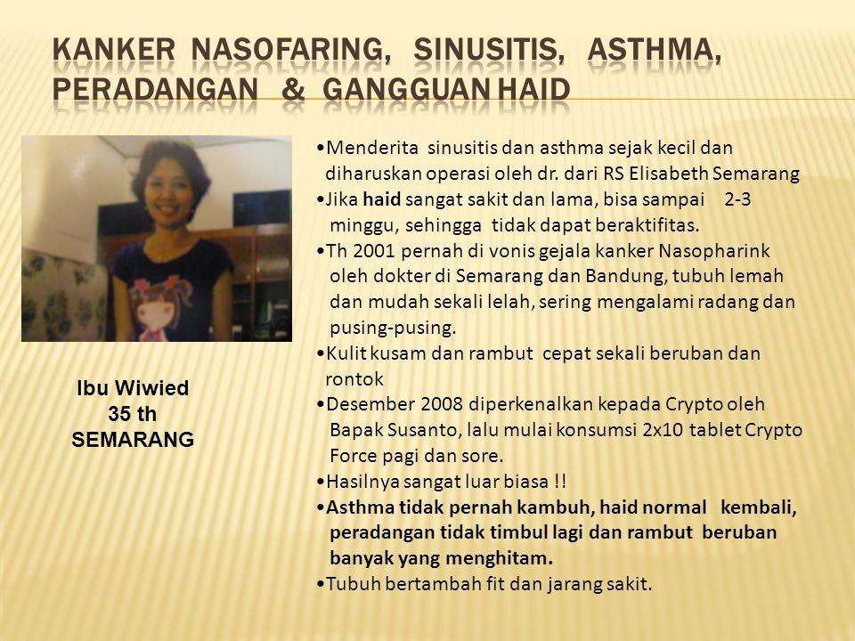 Kanker Nasofaring, SINUSITIS, ASTHMA, PERADANGAN & GANGGUAN HAID