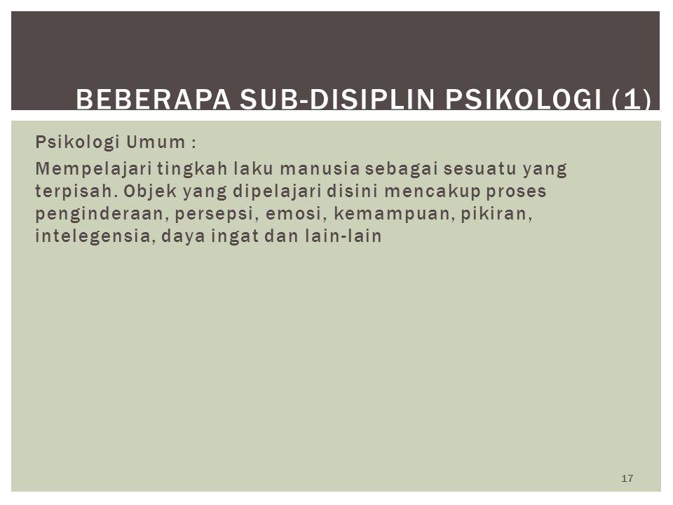 Beberapa Sub-Disiplin Psikologi (1)