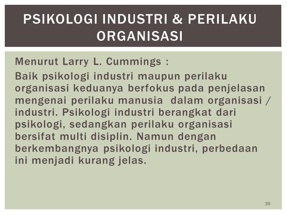 Psikologi Industri & Perilaku Organisasi