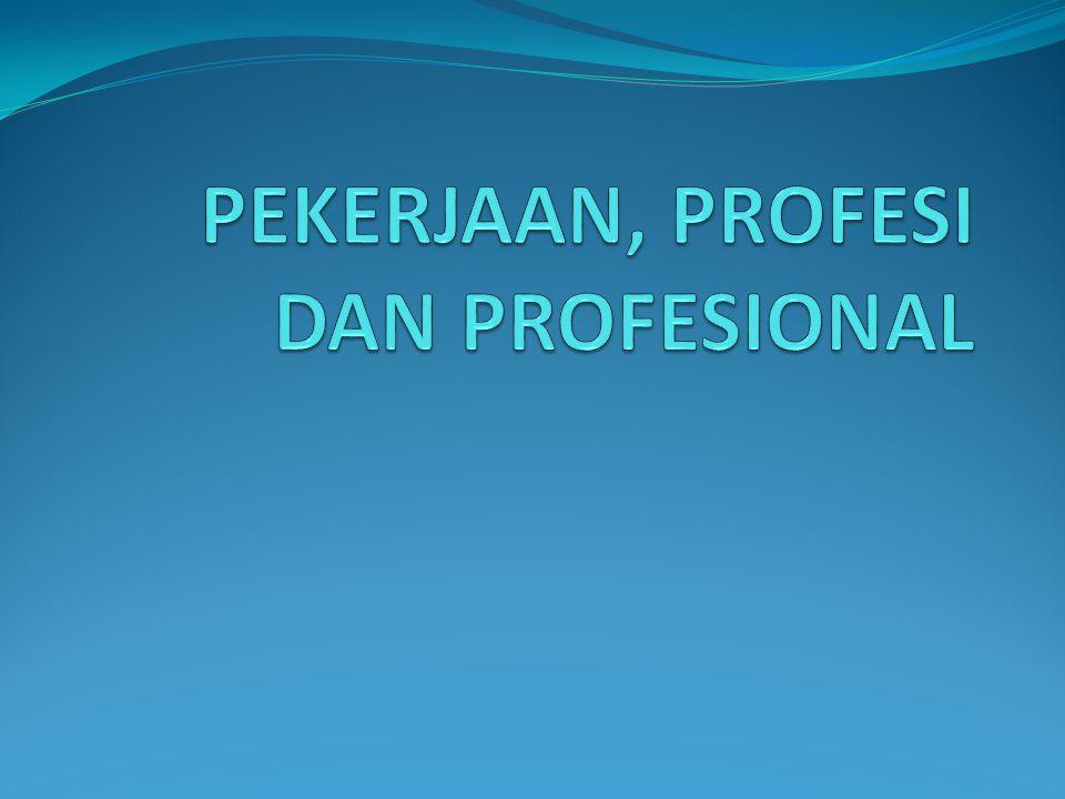 PEKERJAAN, PROFESI DAN PROFESIONAL