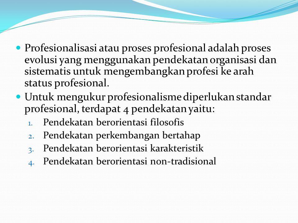 Profesionalisasi atau proses profesional adalah proses evolusi yang menggunakan pendekatan organisasi dan sistematis untuk mengembangkan profesi ke arah status profesional.