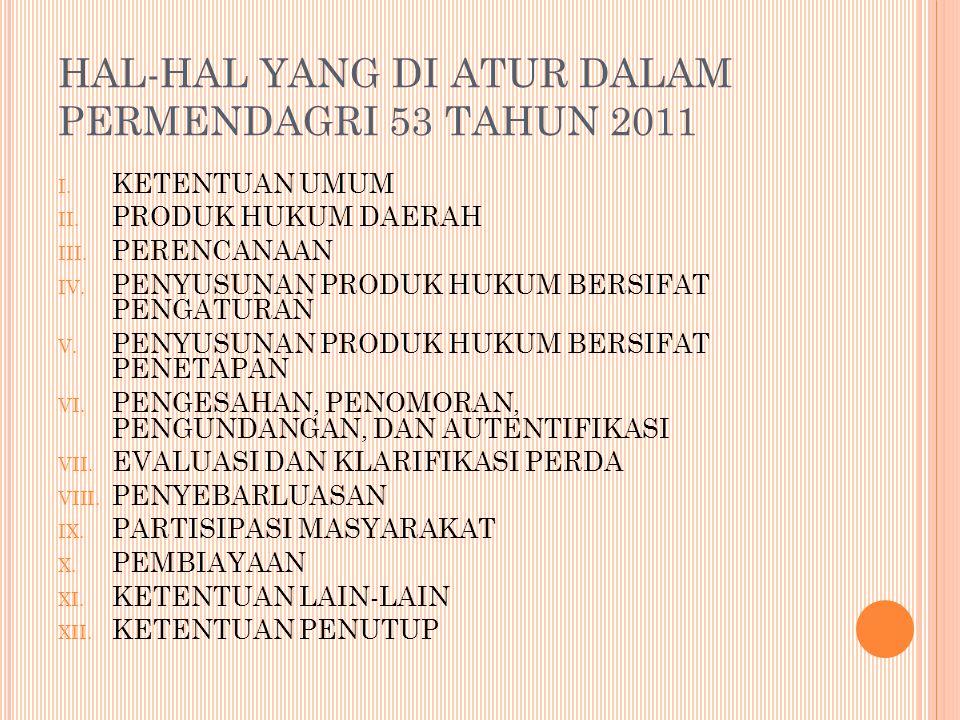 HAL-HAL YANG DI ATUR DALAM PERMENDAGRI 53 TAHUN 2011