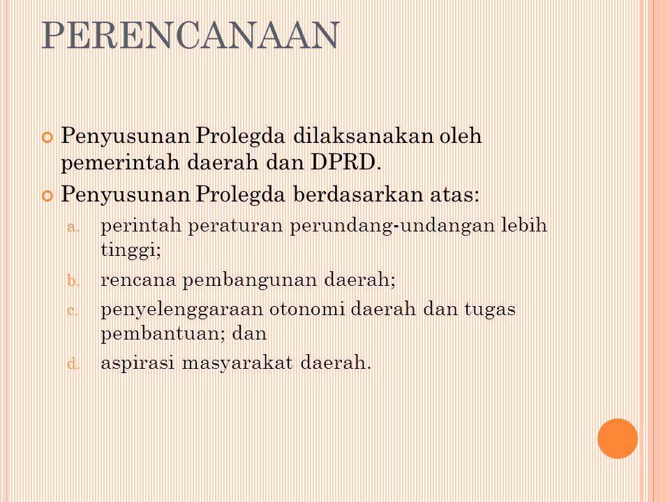 PERENCANAAN Penyusunan Prolegda dilaksanakan oleh pemerintah daerah dan DPRD. Penyusunan Prolegda berdasarkan atas: