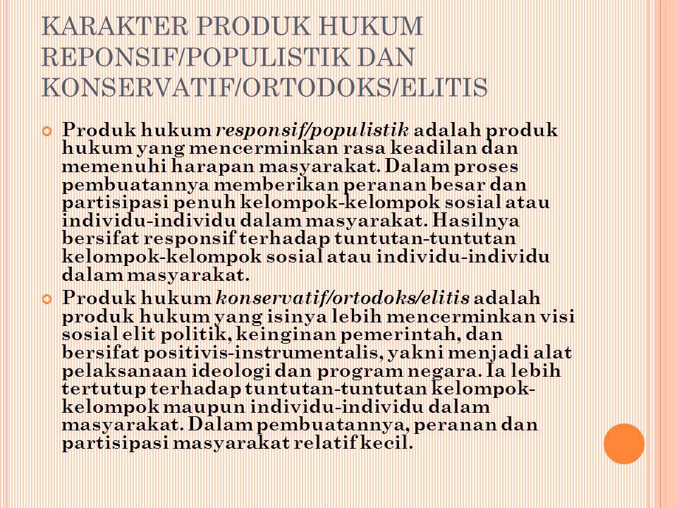 KARAKTER PRODUK HUKUM REPONSIF/POPULISTIK DAN KONSERVATIF/ORTODOKS/ELITIS