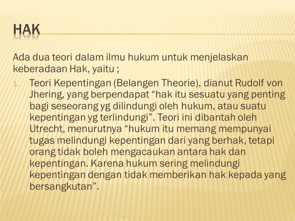HAK Ada dua teori dalam ilmu hukum untuk menjelaskan keberadaan Hak, yaitu ;