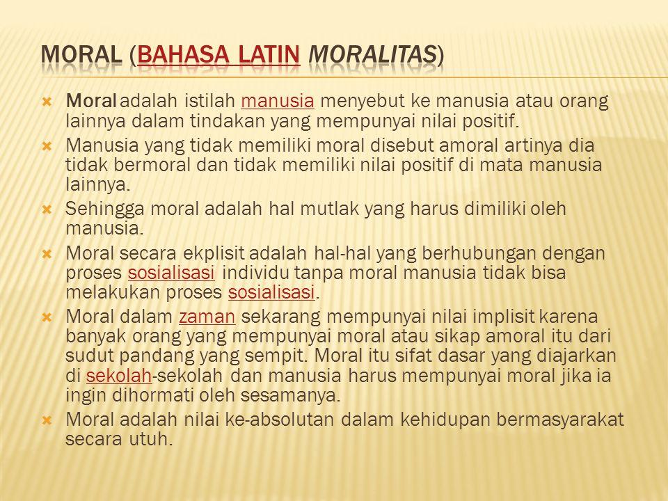 Moral (Bahasa Latin Moralitas)