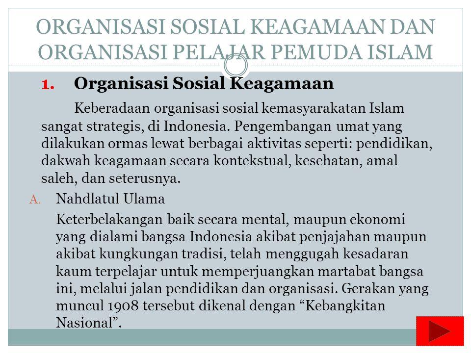 ORGANISASI SOSIAL KEAGAMAAN DAN ORGANISASI PELAJAR PEMUDA ISLAM