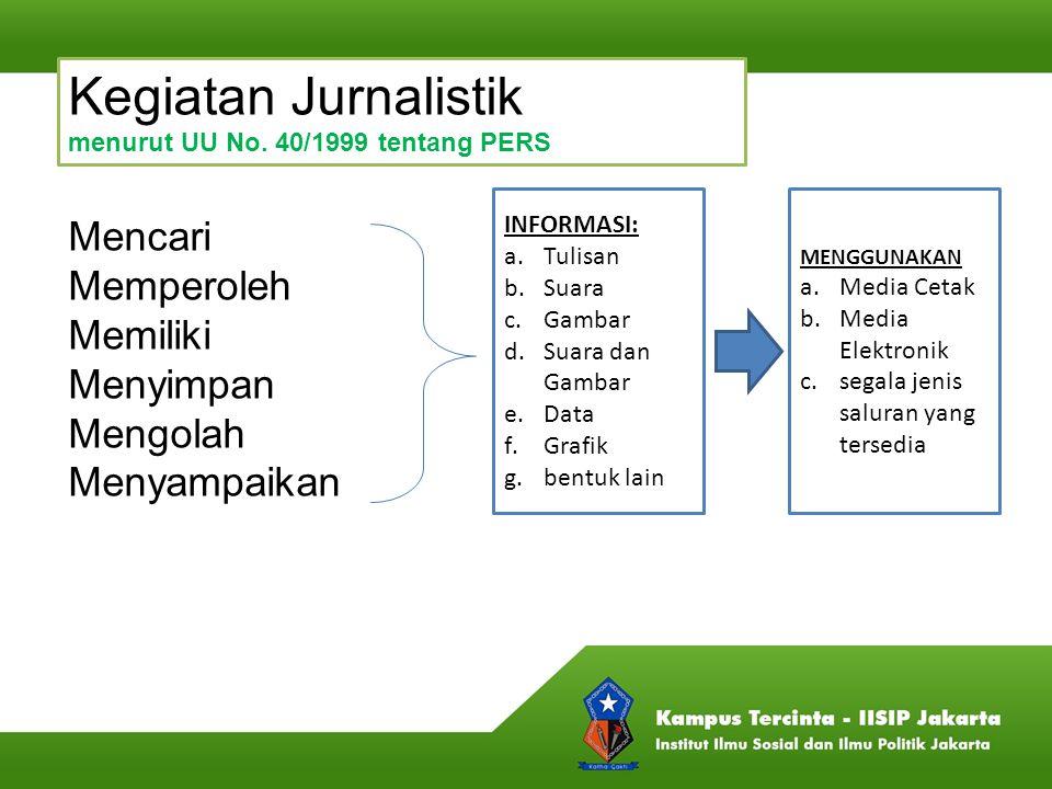 Kegiatan Jurnalistik menurut UU No. 40/1999 tentang PERS