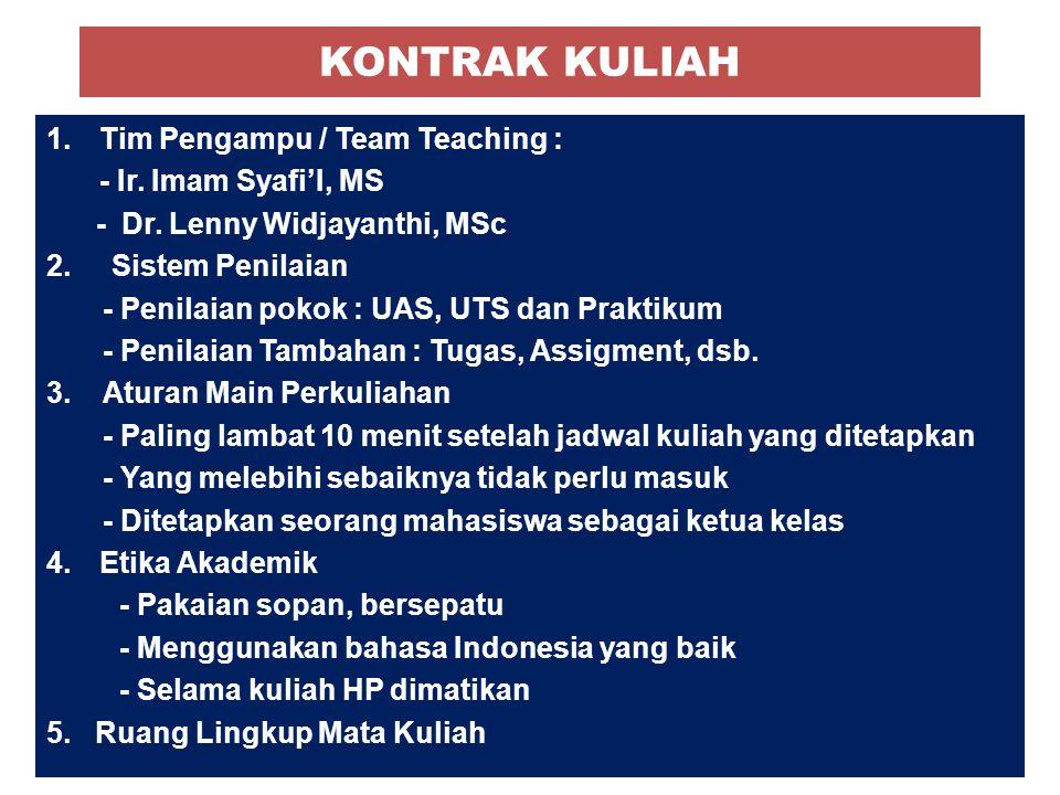 KONTRAK KULIAH Tim Pengampu / Team Teaching : - Ir. Imam Syafi'I, MS