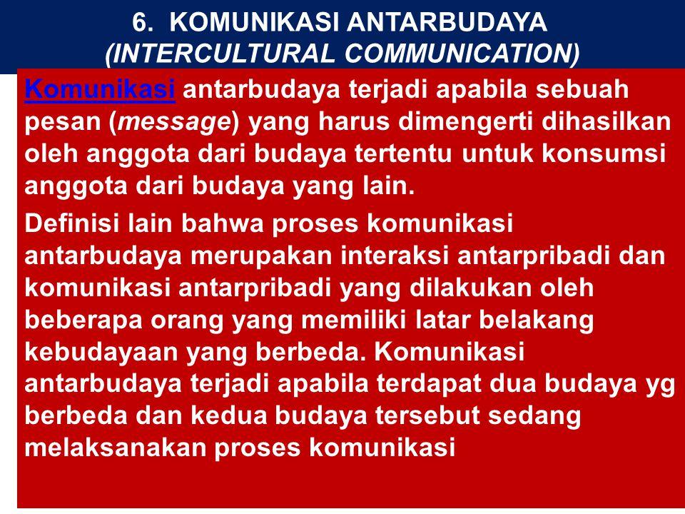 6. KOMUNIKASI ANTARBUDAYA (INTERCULTURAL COMMUNICATION)