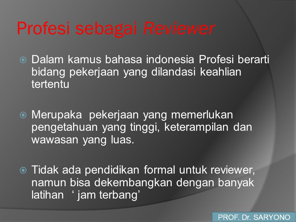 Profesi sebagai Reviewer