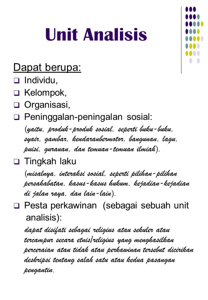 Unit Analisis Dapat berupa: Individu, Kelompok, Organisasi,