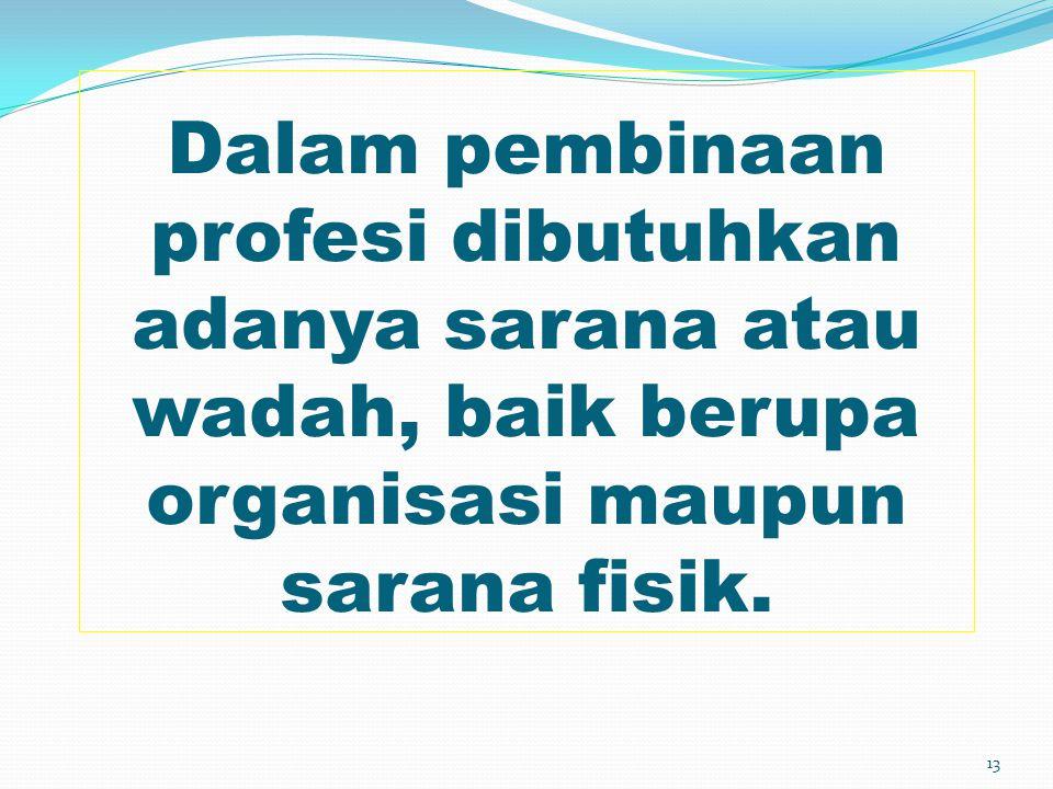 Dalam pembinaan profesi dibutuhkan adanya sarana atau wadah, baik berupa organisasi maupun sarana fisik.