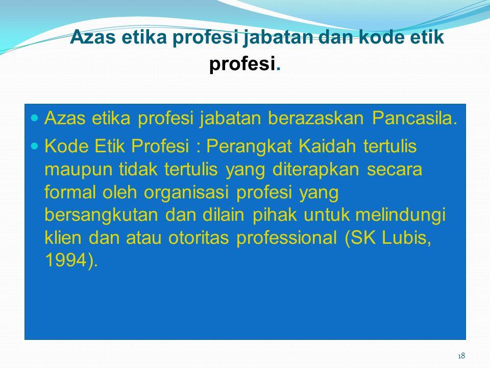Azas etika profesi jabatan dan kode etik profesi.