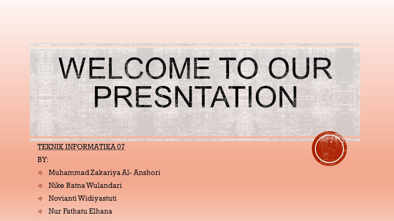 WELCOME TO OUR PRESNTATION