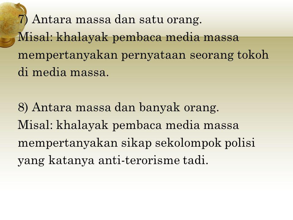 7) Antara massa dan satu orang