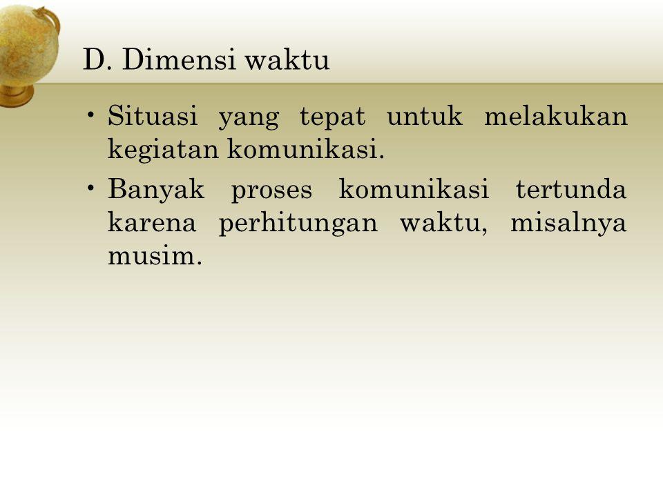 D. Dimensi waktu Situasi yang tepat untuk melakukan kegiatan komunikasi.