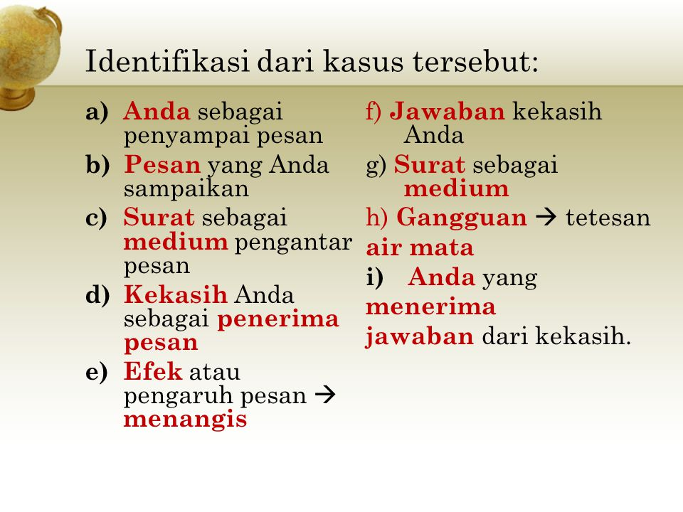 Identifikasi dari kasus tersebut: