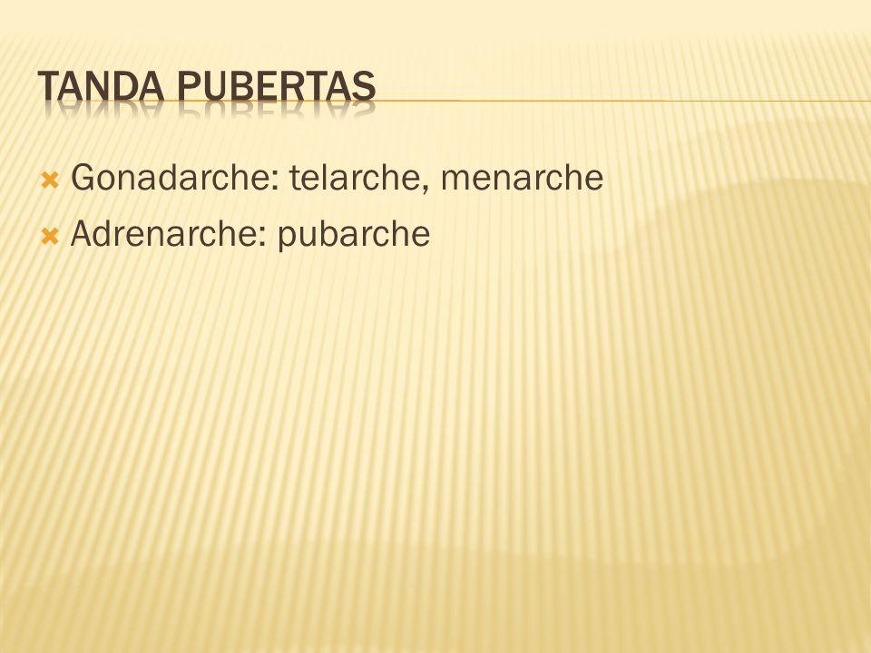 Tanda pubertas Gonadarche: telarche, menarche Adrenarche: pubarche