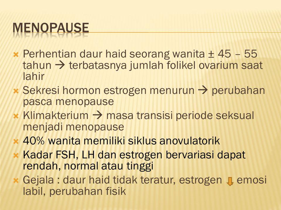 Menopause Perhentian daur haid seorang wanita ± 45 – 55 tahun  terbatasnya jumlah folikel ovarium saat lahir.