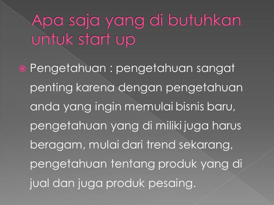 Apa saja yang di butuhkan untuk start up