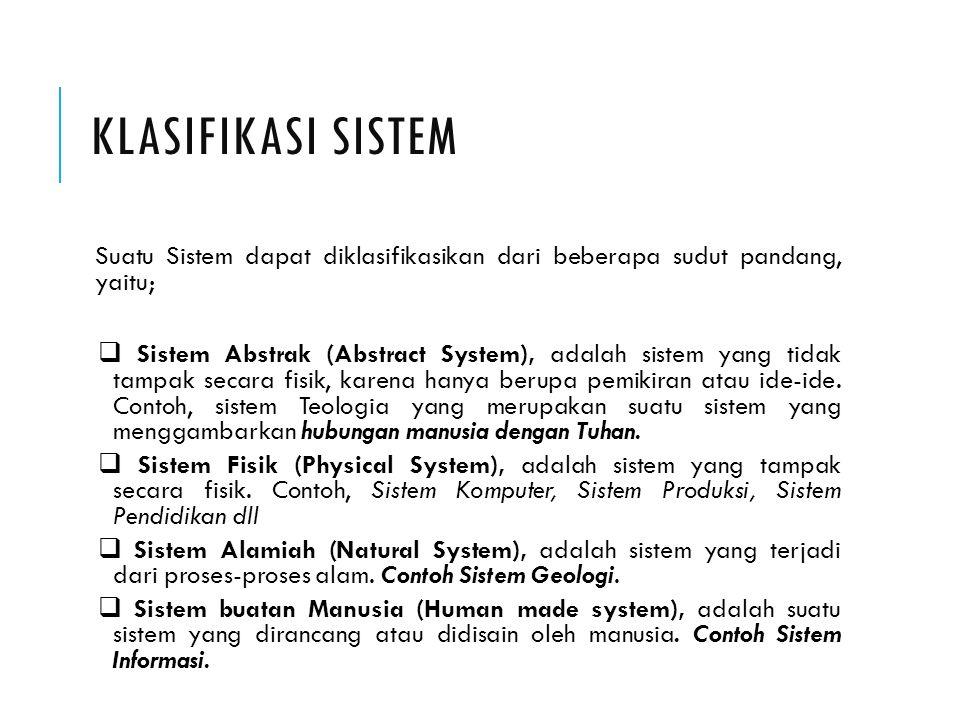 Klasifikasi Sistem Suatu Sistem dapat diklasifikasikan dari beberapa sudut pandang, yaitu;