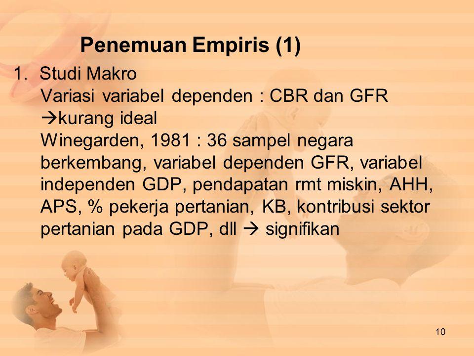 Penemuan Empiris (1) Studi Makro