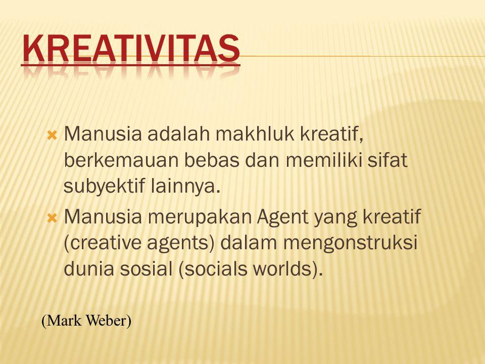 KREATIVITAS Manusia adalah makhluk kreatif, berkemauan bebas dan memiliki sifat subyektif lainnya.