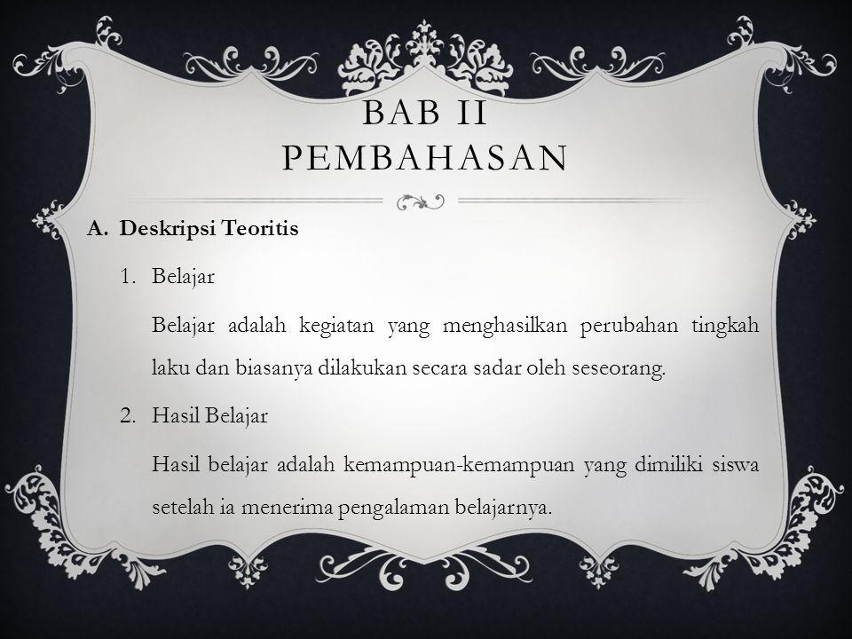 BAB II PEMBAHASAN Deskripsi Teoritis Belajar