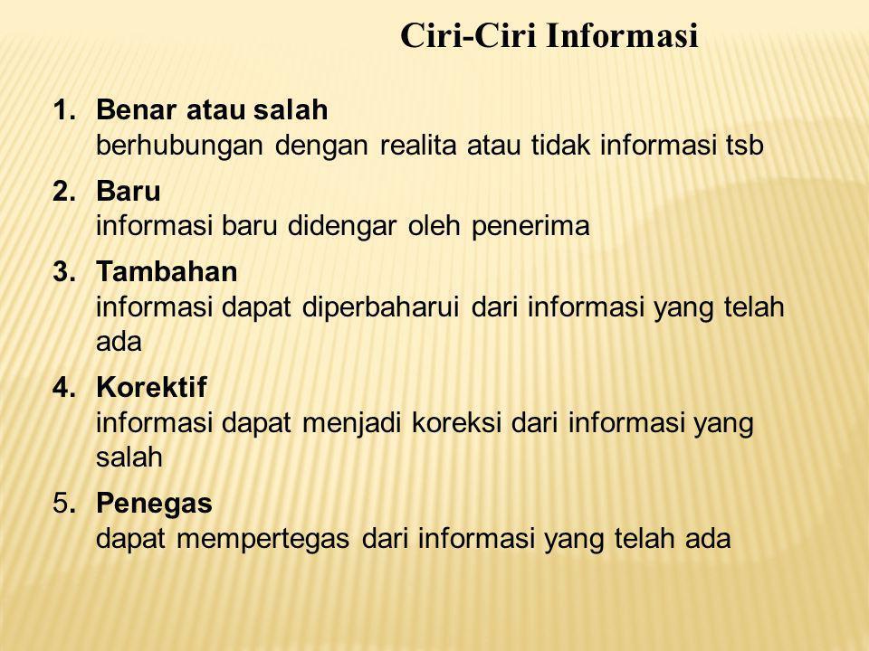 Ciri-Ciri Informasi Benar atau salah