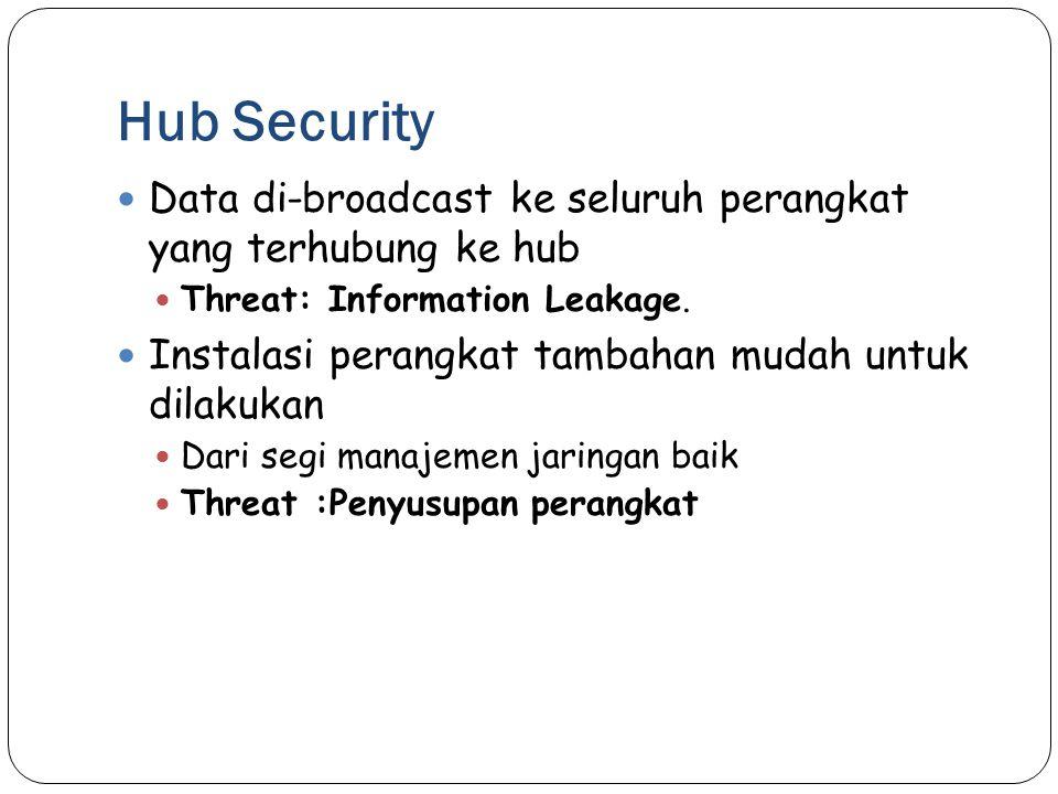 Hub Security Data di-broadcast ke seluruh perangkat yang terhubung ke hub. Threat: Information Leakage.