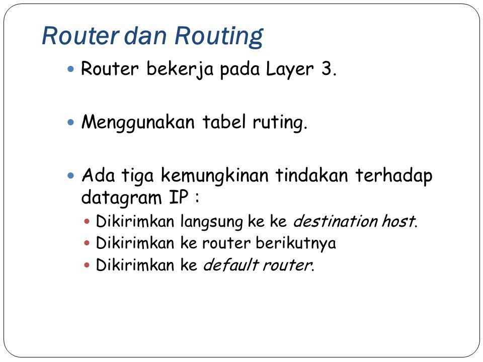 Router dan Routing Router bekerja pada Layer 3.