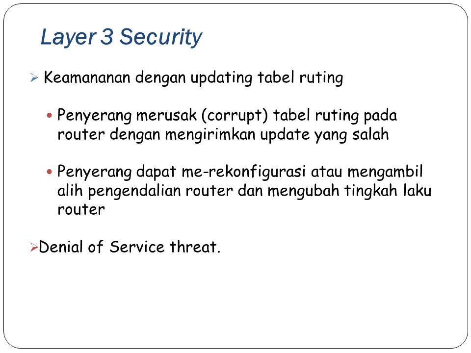 Layer 3 Security Keamananan dengan updating tabel ruting