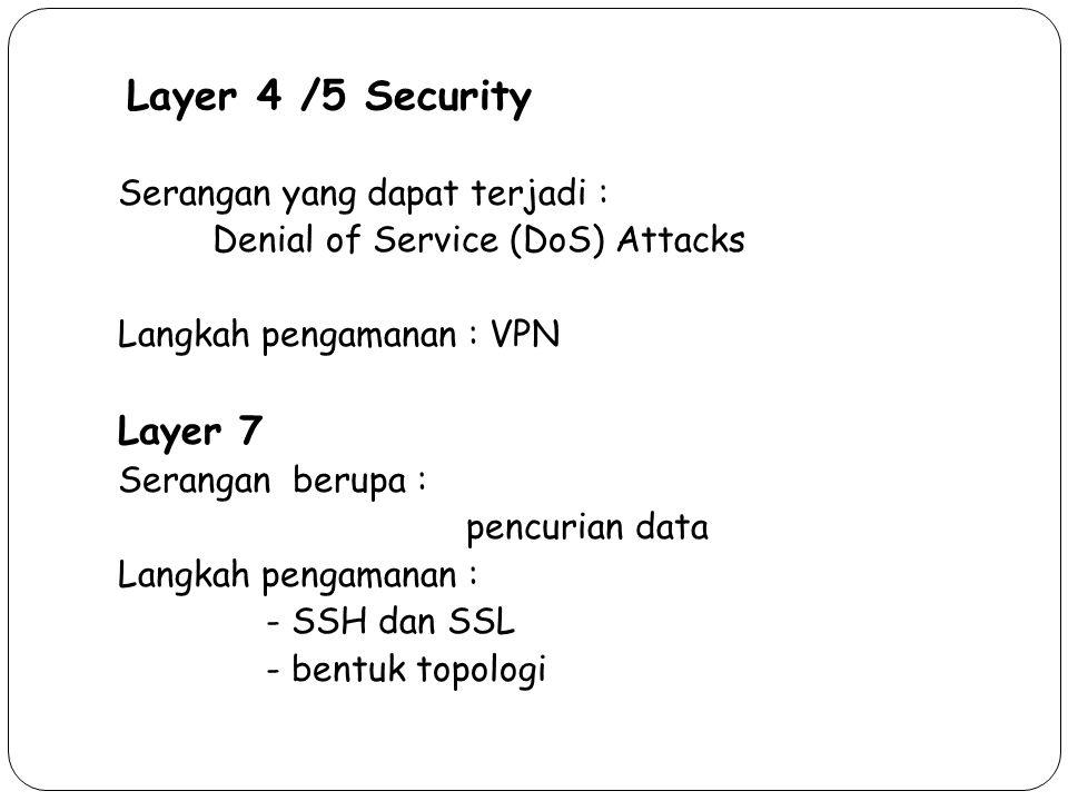 Layer 4 /5 Security Layer 7 Serangan yang dapat terjadi :