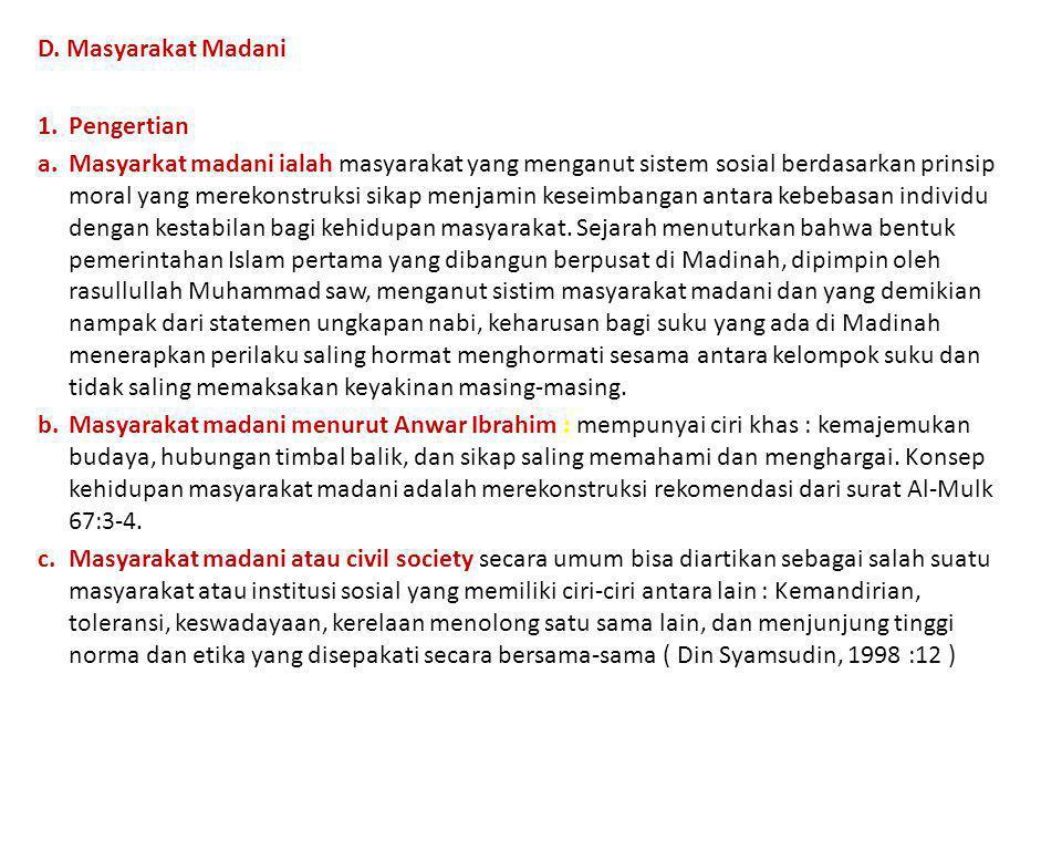 D. Masyarakat Madani Pengertian.