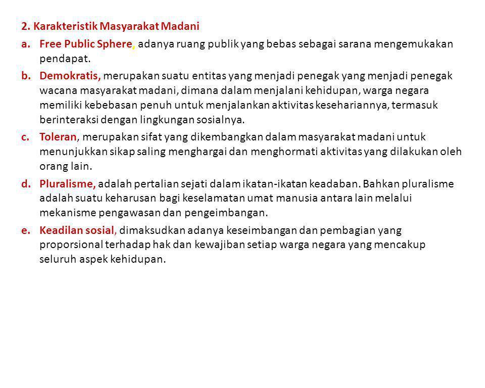 2. Karakteristik Masyarakat Madani