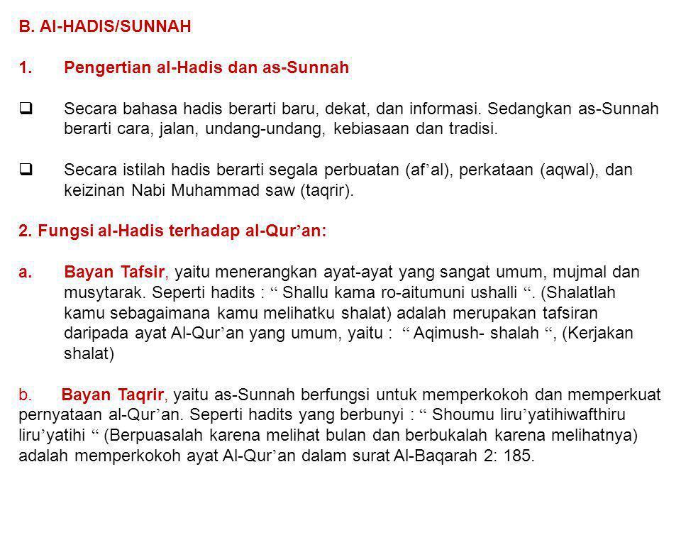 B. Al-HADIS/SUNNAH Pengertian al-Hadis dan as-Sunnah.