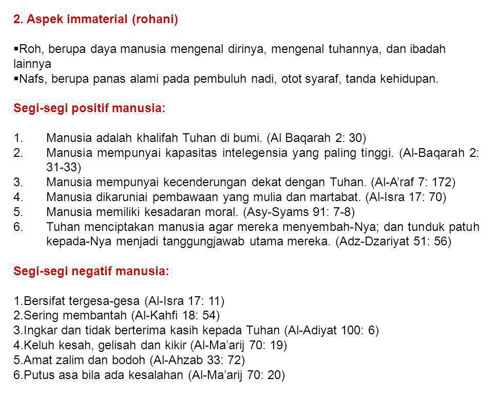 2. Aspek immaterial (rohani)
