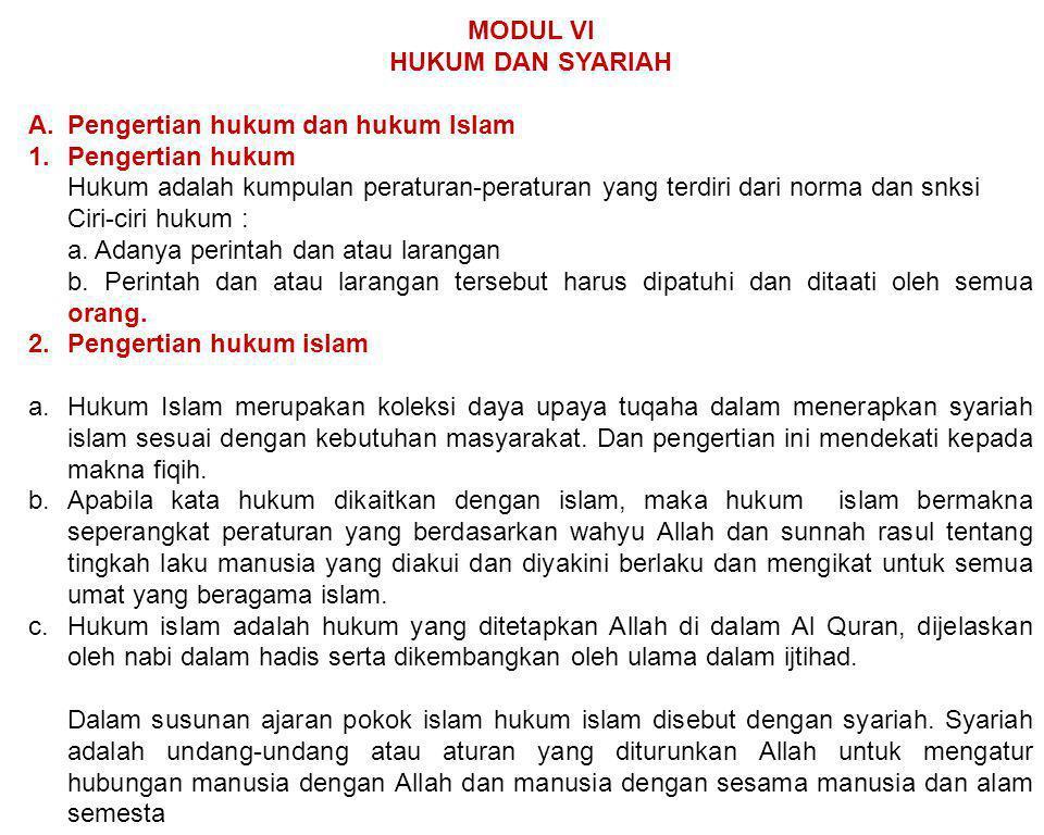 MODUL VI HUKUM DAN SYARIAH. Pengertian hukum dan hukum Islam. Pengertian hukum.
