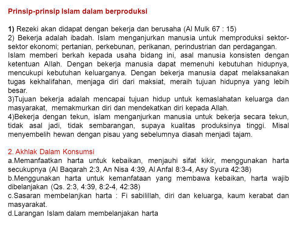 Prinsip-prinsip Islam dalam berproduksi