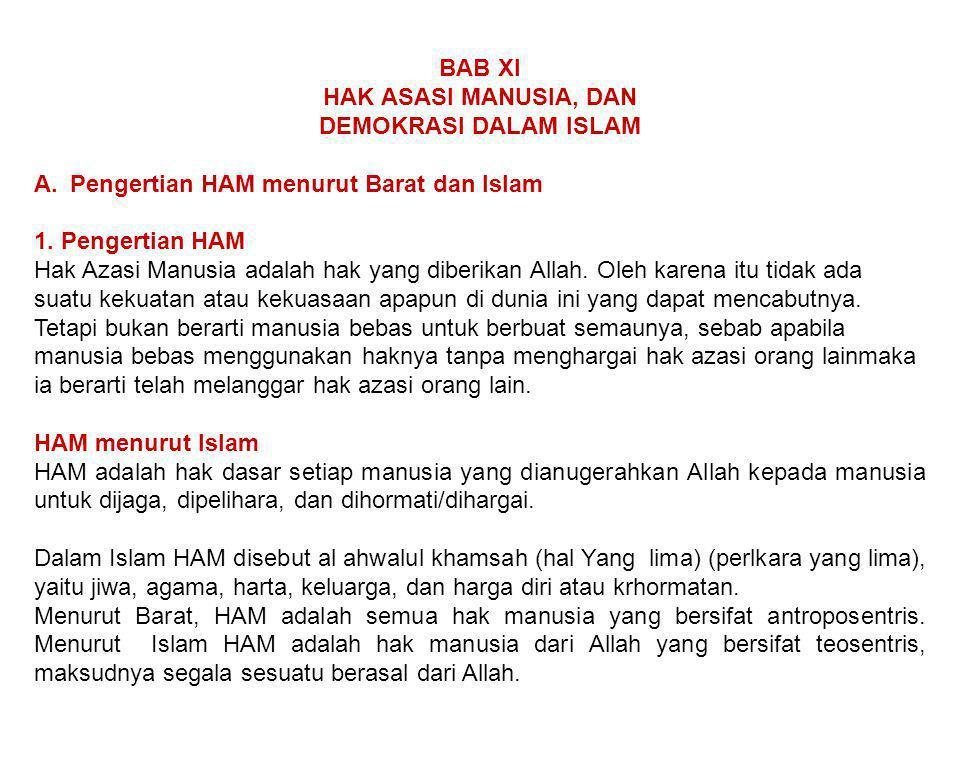 BAB XI HAK ASASI MANUSIA, DAN. DEMOKRASI DALAM ISLAM. Pengertian HAM menurut Barat dan Islam. 1. Pengertian HAM.