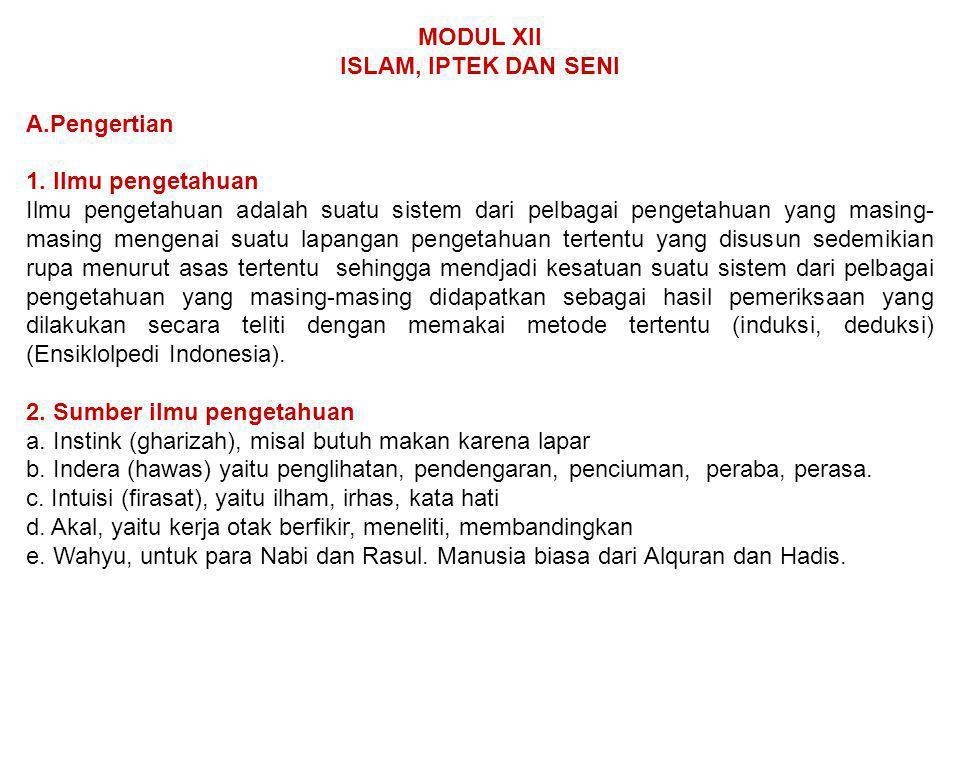 MODUL XII ISLAM, IPTEK DAN SENI. Pengertian. 1. Ilmu pengetahuan.