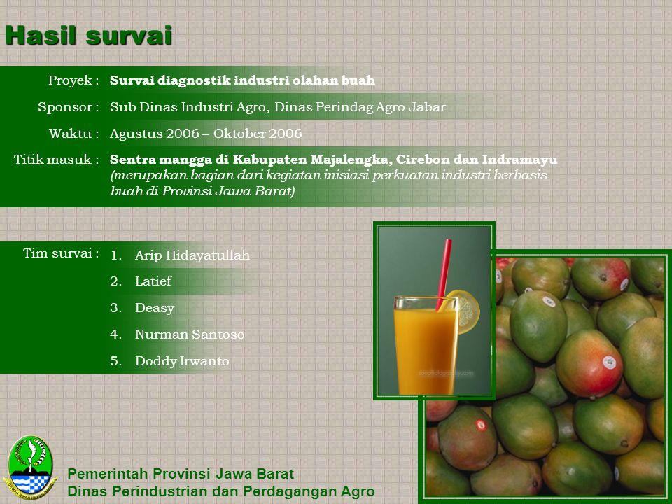 Hasil survai Pemerintah Provinsi Jawa Barat