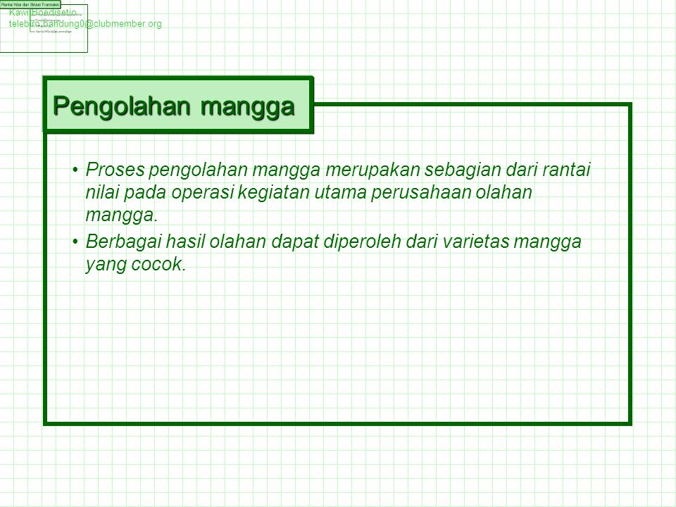 Kawi Boedisetio telebiro.bandung0@clubmember.org. Pengolahan mangga.