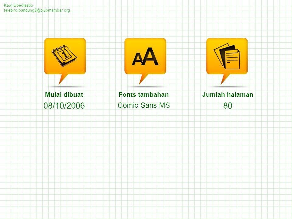 08/10/2006 80 Comic Sans MS Mulai dibuat Fonts tambahan Jumlah halaman