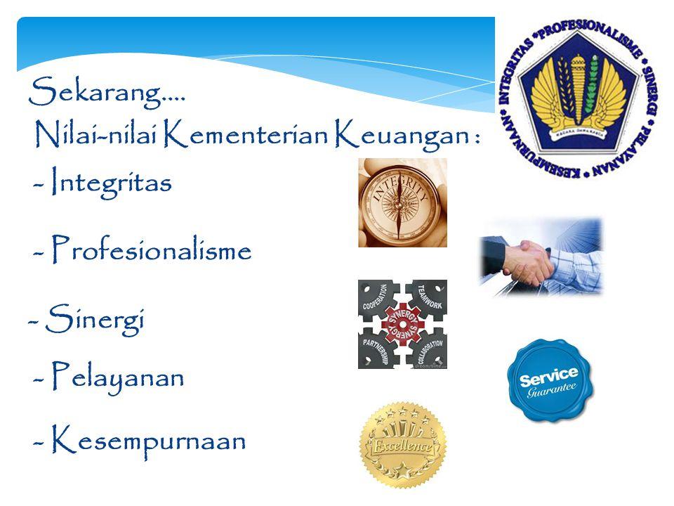 Sekarang…. Nilai-nilai Kementerian Keuangan : - Integritas. - Profesionalisme. - Sinergi. - Pelayanan.